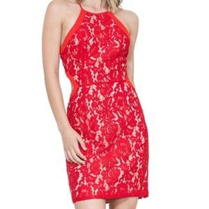 The Room by Ark & Co. red lace sheath dress